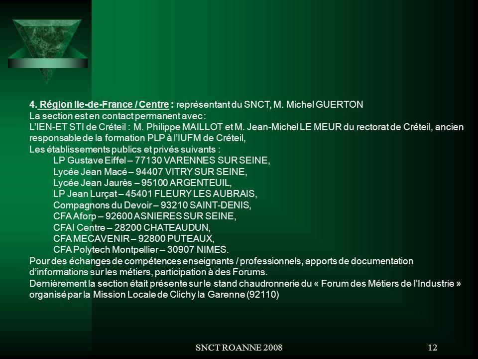 SNCT ROANNE 200812 4. Région Ile-de-France / Centre : représentant du SNCT, M. Michel GUERTON La section est en contact permanent avec : LIEN-ET STI d