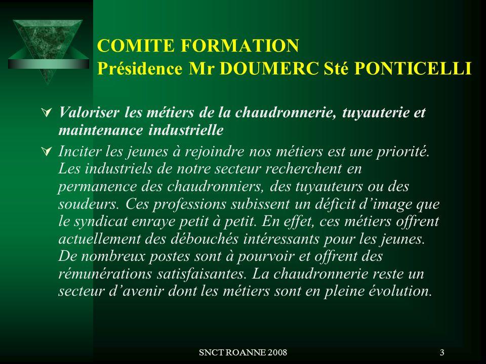 SNCT ROANNE 20083 COMITE FORMATION Présidence Mr DOUMERC Sté PONTICELLI Valoriser les métiers de la chaudronnerie, tuyauterie et maintenance industrie