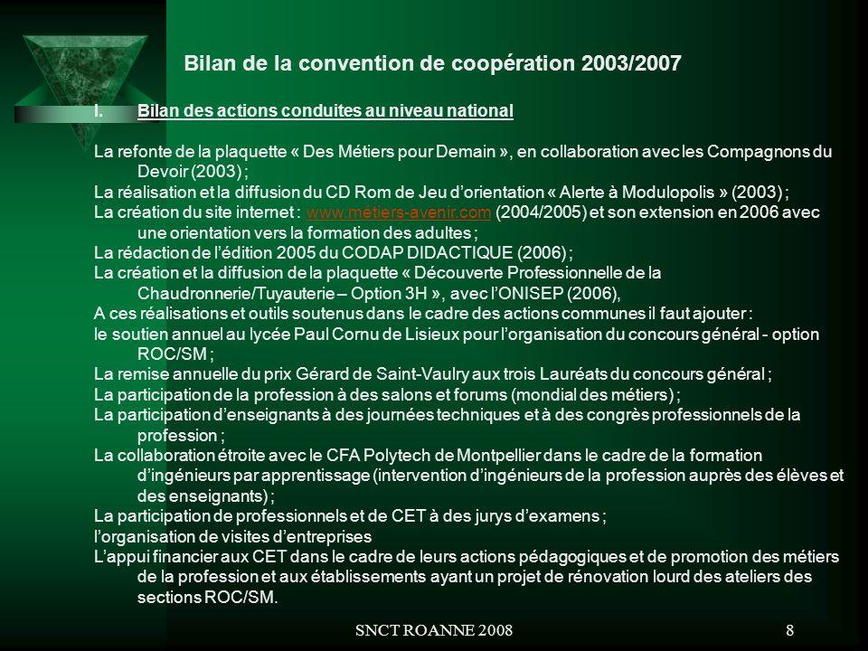 SNCT ROANNE 20088 Bilan de la convention de coopération 2003/2007 I.Bilan des actions conduites au niveau national La refonte de la plaquette « Des Mé