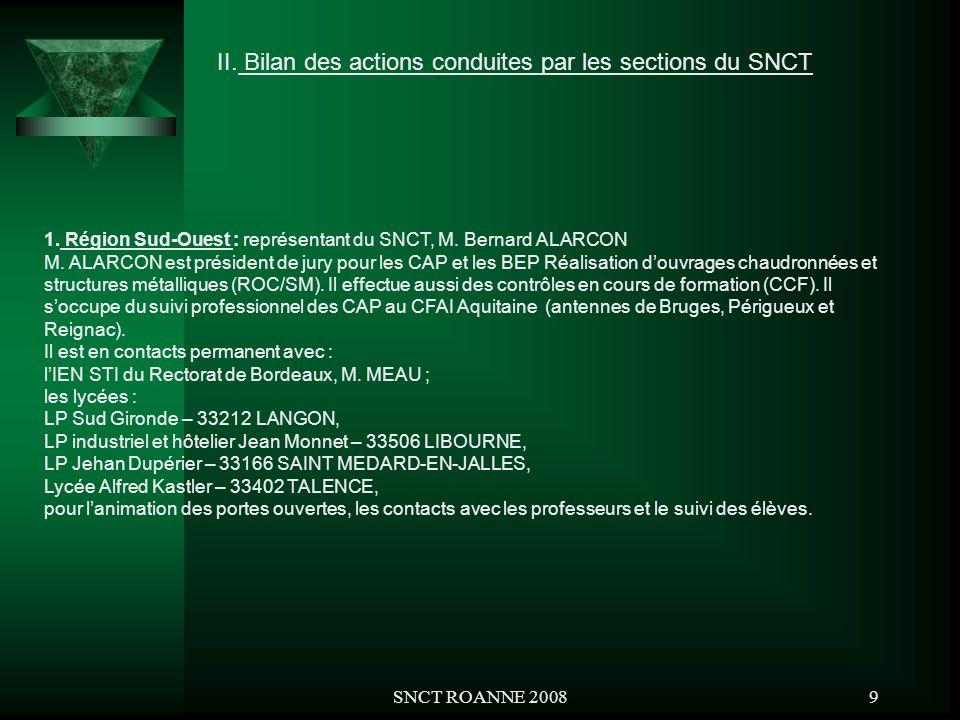 SNCT ROANNE 20089 II. Bilan des actions conduites par les sections du SNCT 1. Région Sud-Ouest : représentant du SNCT, M. Bernard ALARCON M. ALARCON e