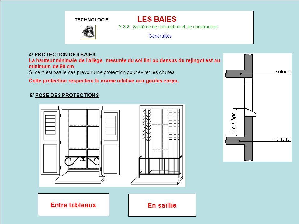 TECHNOLOGIE LES BAIES S 3.2 : Système de conception et de construction Généralités 4/ PROTECTION DES BAIES La hauteur minimale de lallège, mesurée du