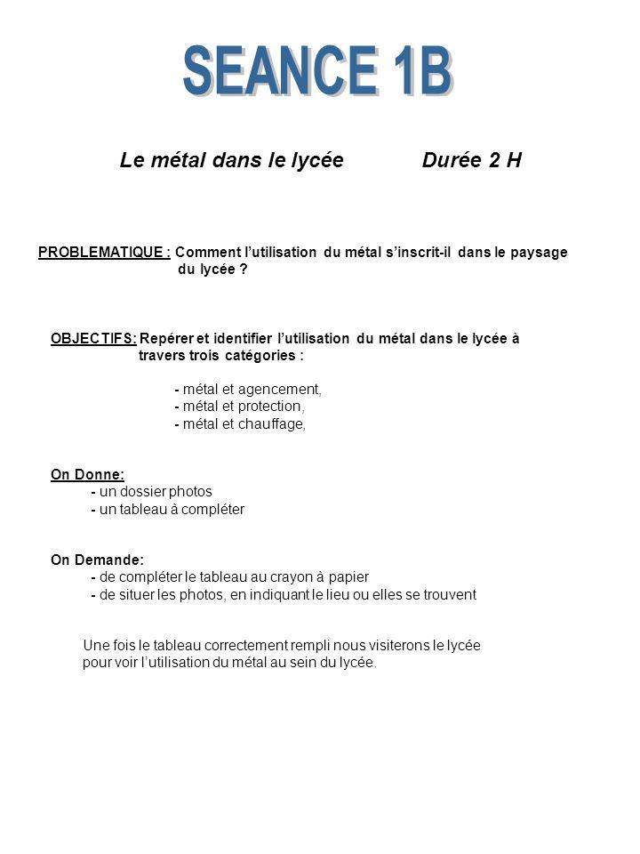 Le métal dans le lycée Durée 2 H PROBLEMATIQUE : Comment lutilisation du métal sinscrit-il dans le paysage du lycée ? OBJECTIFS: Repérer et identifier