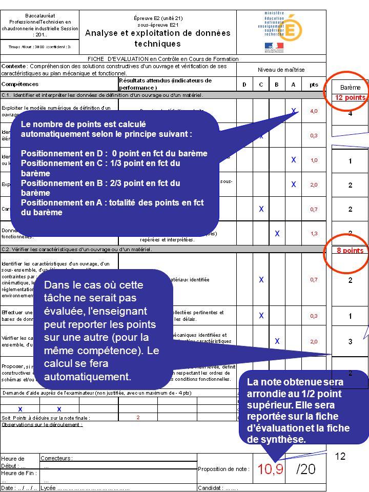 12 Le nombre de points est calculé automatiquement selon le principe suivant : Positionnement en D : 0 point en fct du barème Positionnement en C : 1/