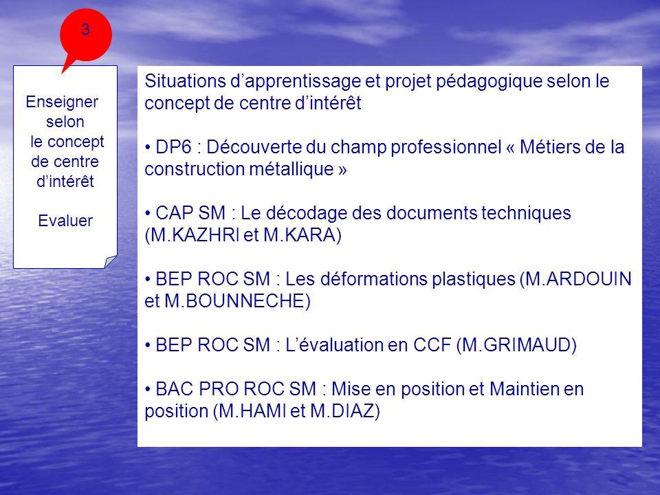 Enseigner selon le concept de centre dintérêt Evaluer 3 Situations dapprentissage et projet pédagogique selon le concept de centre dintérêt DP6 : Déco