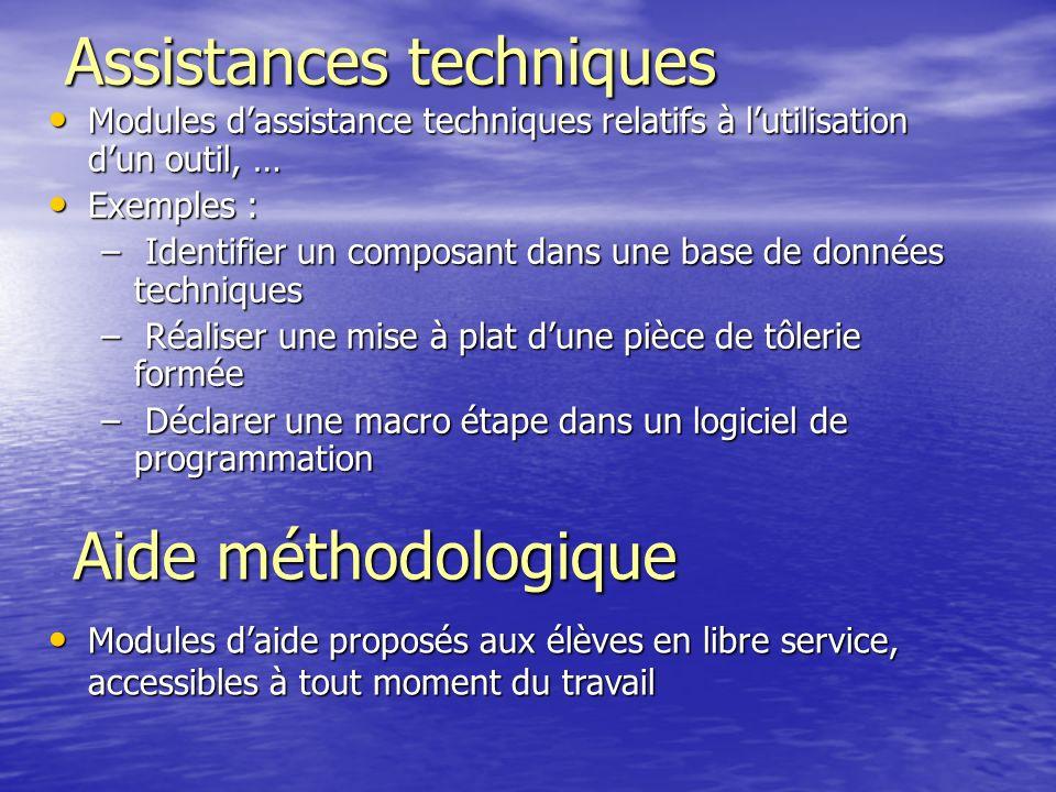 Assistances techniques Modules dassistance techniques relatifs à lutilisation dun outil, … Modules dassistance techniques relatifs à lutilisation dun