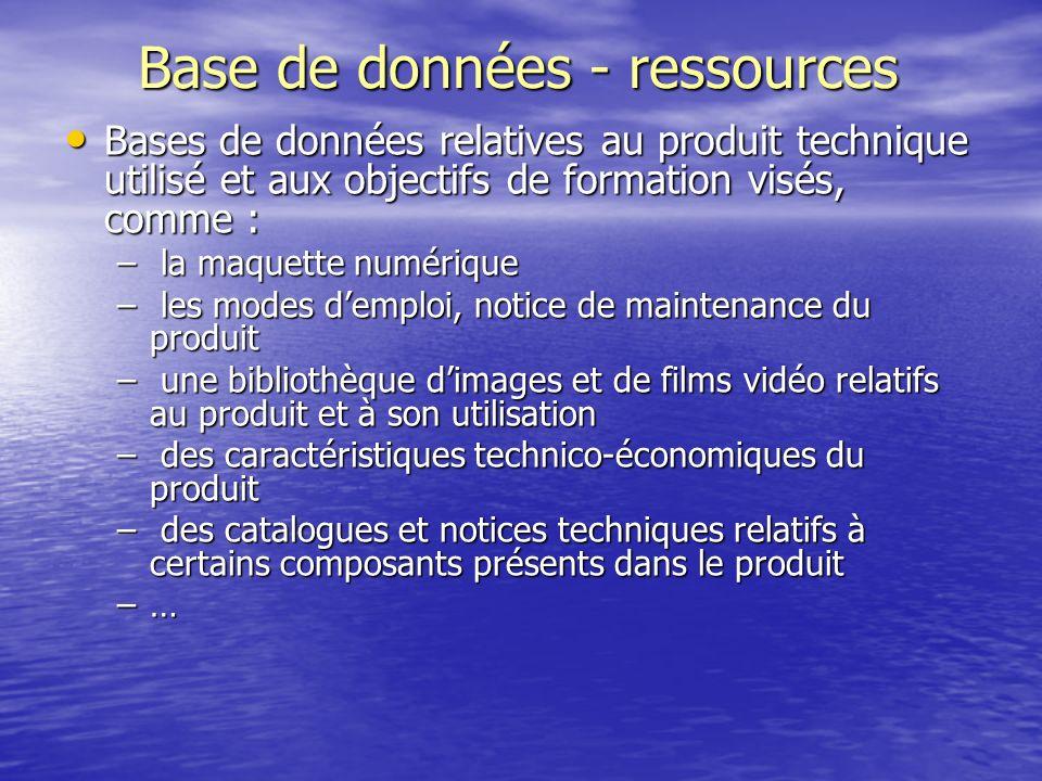 Base de données - ressources Bases de données relatives au produit technique utilisé et aux objectifs de formation visés, comme : Bases de données rel