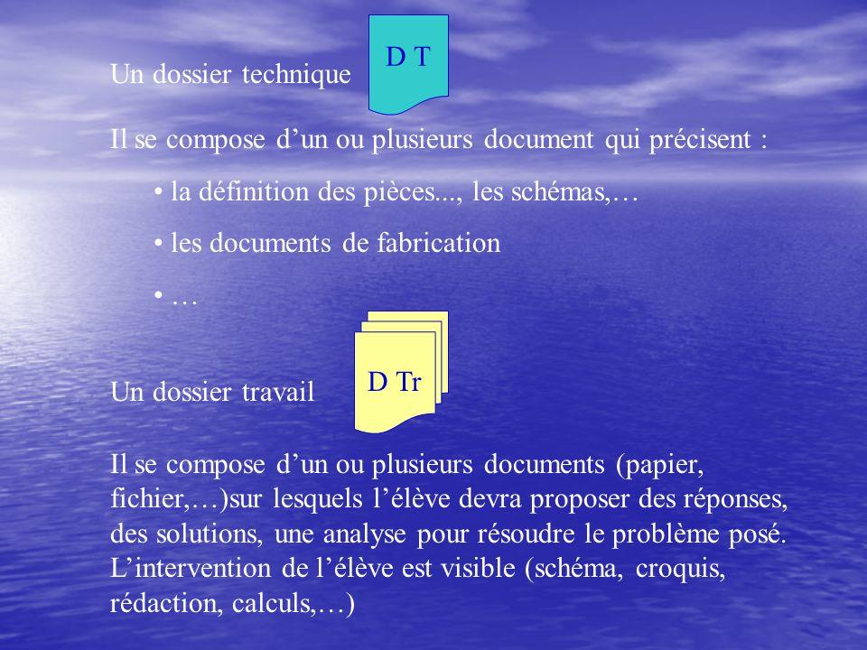 Il se compose dun ou plusieurs document qui précisent : la définition des pièces..., les schémas,… les documents de fabrication … Il se compose dun ou