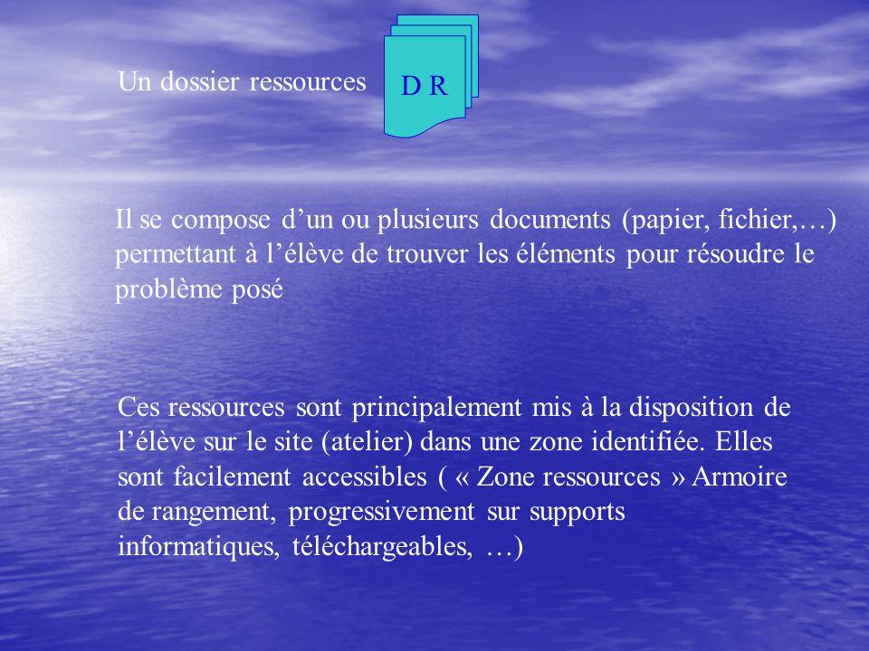Il se compose dun ou plusieurs documents (papier, fichier,…) permettant à lélève de trouver les éléments pour résoudre le problème posé Ces ressources