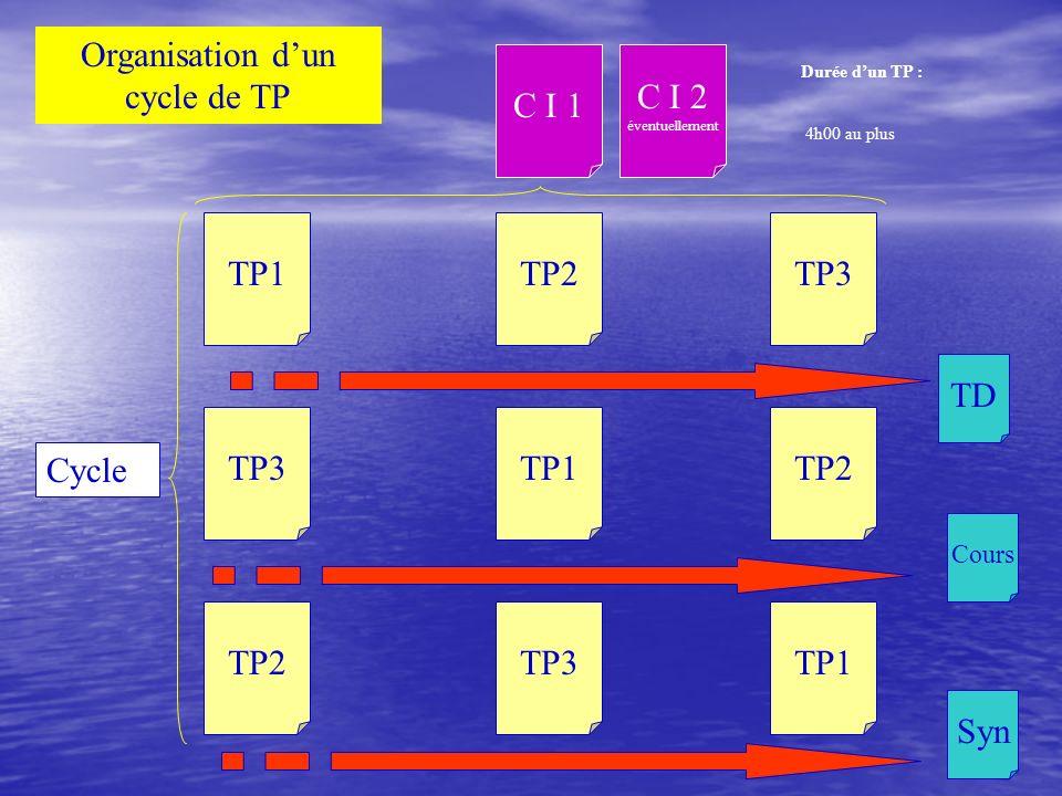 TP3TP2TP1TP2TP1TP3 TP1TP3TP2 Cycle C I 1 C I 2 éventuellement TD Cours Syn Organisation dun cycle de TP Durée dun TP : 4h00 au plus