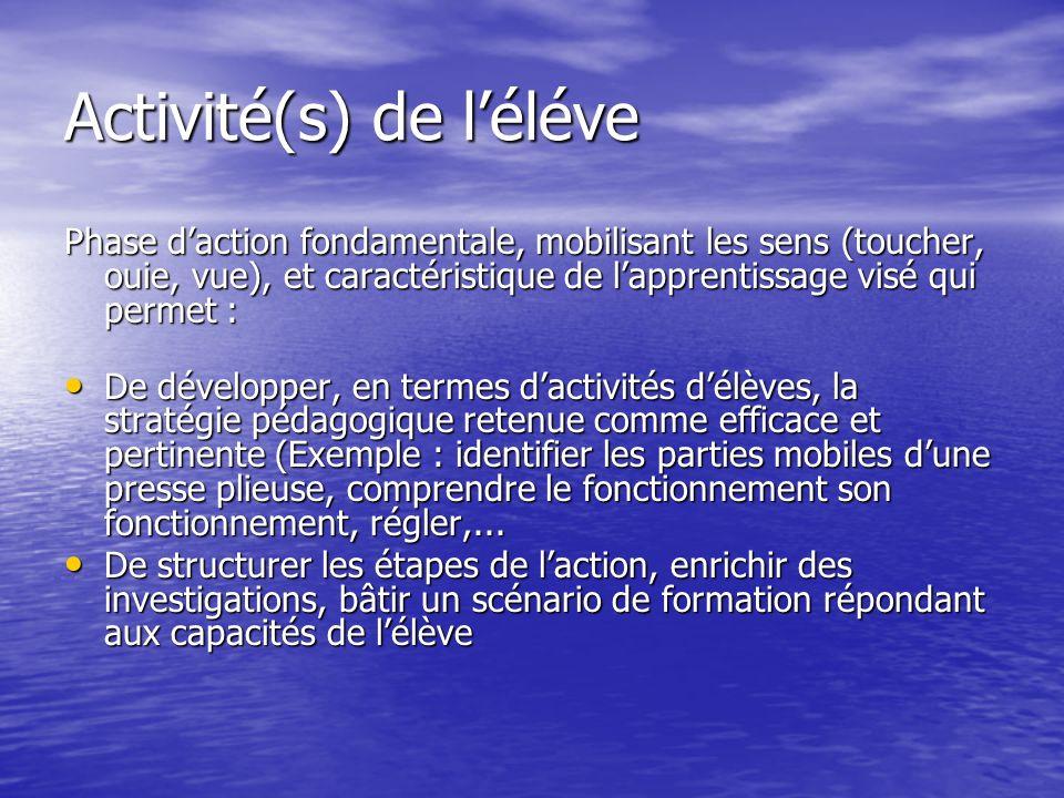 Activité(s) de léléve Phase daction fondamentale, mobilisant les sens (toucher, ouie, vue), et caractéristique de lapprentissage visé qui permet : De