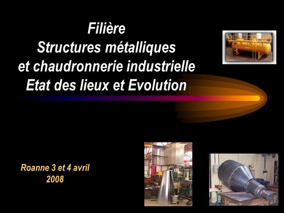 1 Filière Structures métalliques et chaudronnerie industrielle Etat des lieux et Evolution Roanne 3 et 4 avril 2008