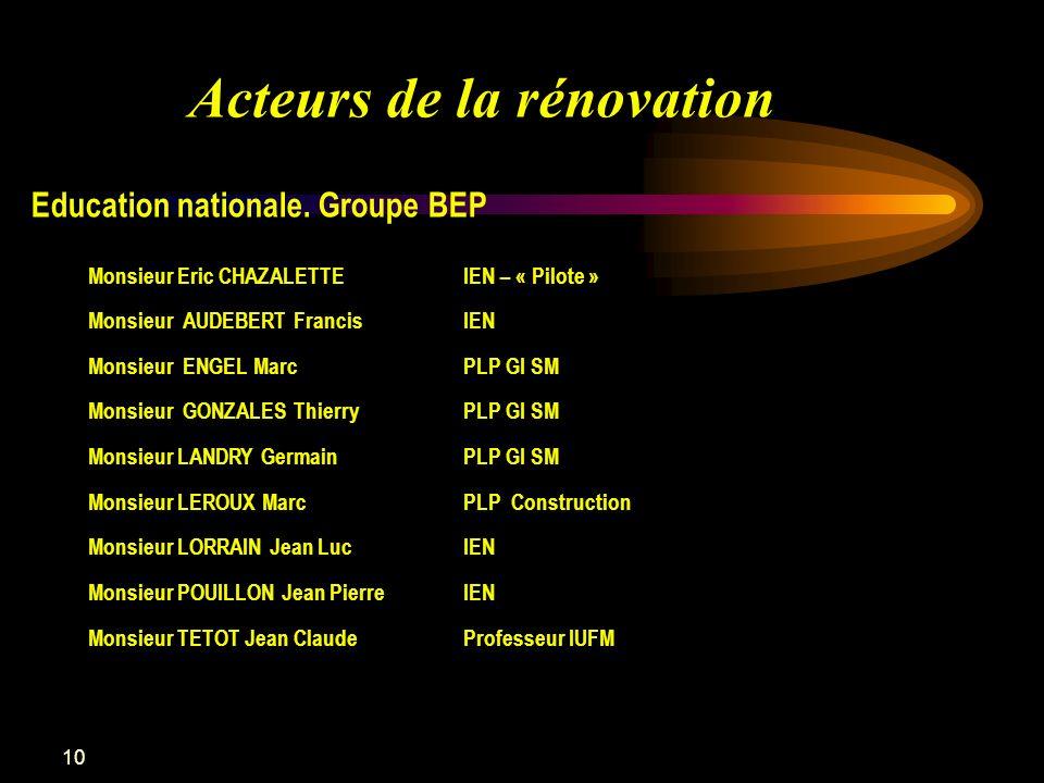 10 Acteurs de la rénovation Education nationale. Groupe BEP Monsieur Eric CHAZALETTEIEN – « Pilote » Monsieur AUDEBERT FrancisIEN Monsieur ENGEL MarcP