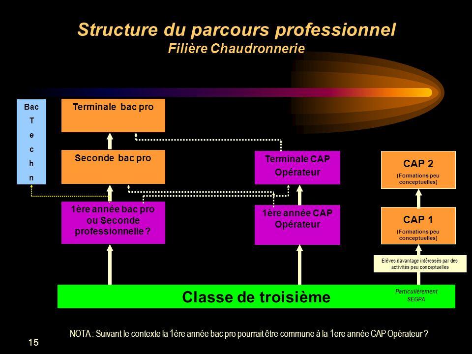 15 Structure du parcours professionnel Filière Chaudronnerie Terminale bac pro Seconde bac pro 1ère année bac pro ou Seconde professionnelle ? Termina