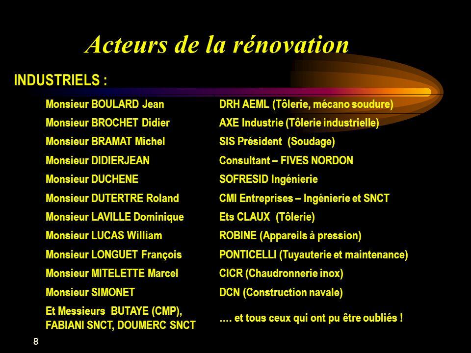8 Acteurs de la rénovation INDUSTRIELS : Monsieur BOULARD JeanDRH AEML (Tôlerie, mécano soudure) Monsieur BROCHET DidierAXE Industrie (Tôlerie industr