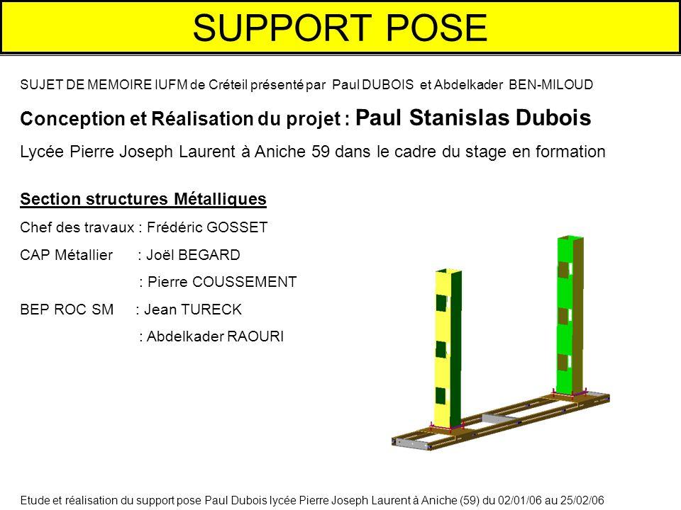 Etude et réalisation du support pose Paul Dubois lycée Pierre Joseph Laurent à Aniche (59) du 02/01/06 au 25/02/06 SUPPORT POSE SUJET DE MEMOIRE IUFM