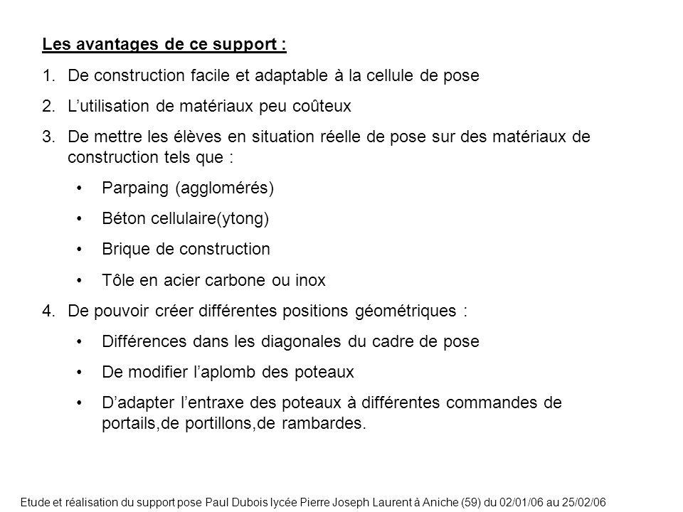 Etude et réalisation du support pose Paul Dubois lycée Pierre Joseph Laurent à Aniche (59) du 02/01/06 au 25/02/06 Les avantages de ce support : 1.De