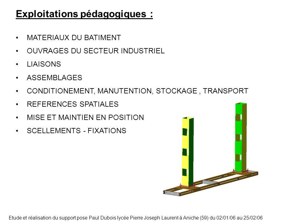 Etude et réalisation du support pose Paul Dubois lycée Pierre Joseph Laurent à Aniche (59) du 02/01/06 au 25/02/06 Exploitations pédagogiques : MATERI