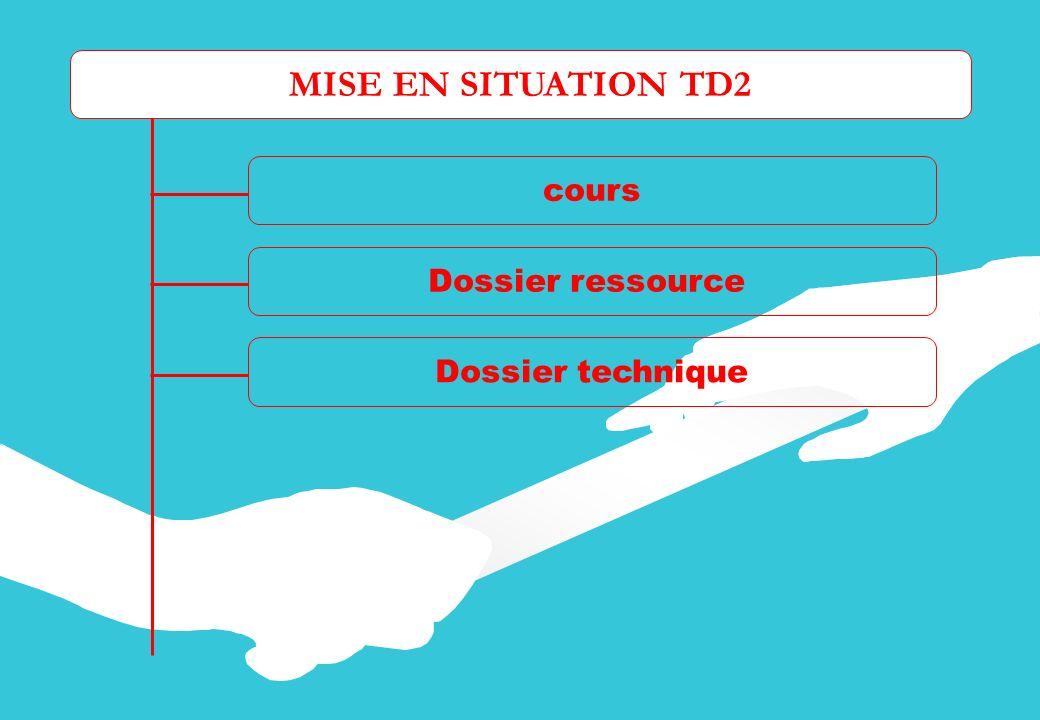 MISE EN SITUATION TD2 cours Dossier ressource Dossier technique Fiche activités