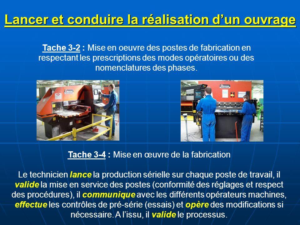 Tache 3-2 : Mise en oeuvre des postes de fabrication en respectant les prescriptions des modes opératoires ou des nomenclatures des phases. Tache 3-4