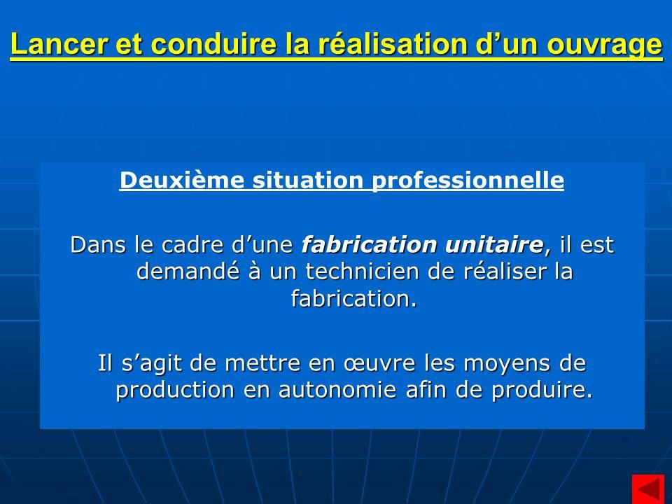 Deuxième situation professionnelle Dans le cadre dune fabrication unitaire, il est demandé à un technicien de réaliser la fabrication. Il sagit de met