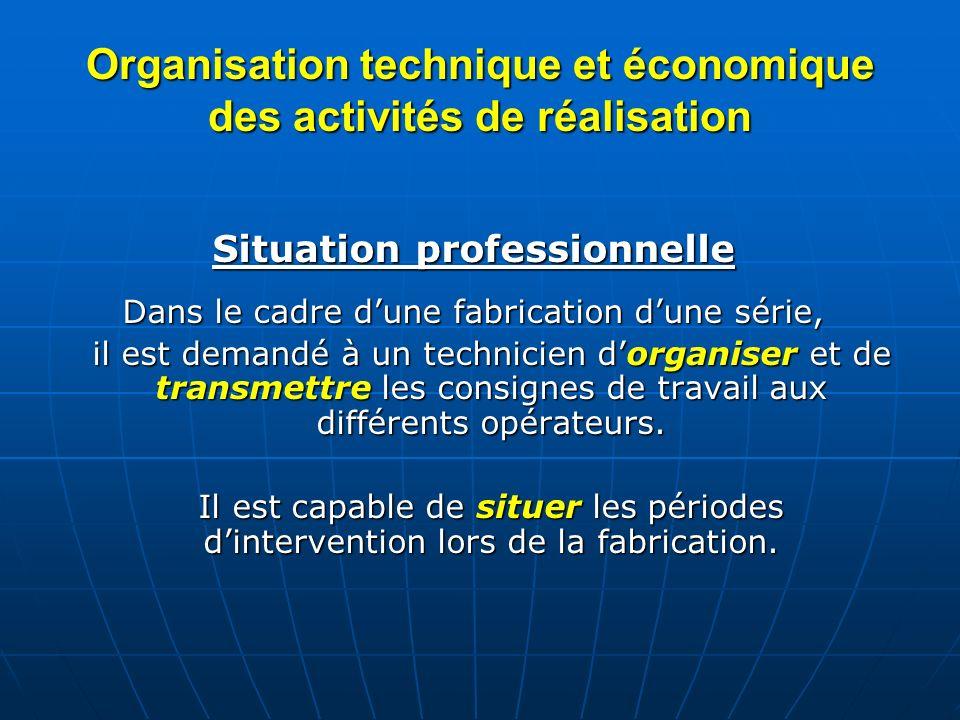 Organisation technique et économique des activités de réalisation Situation professionnelle Dans le cadre dune fabrication dune série, il est demandé