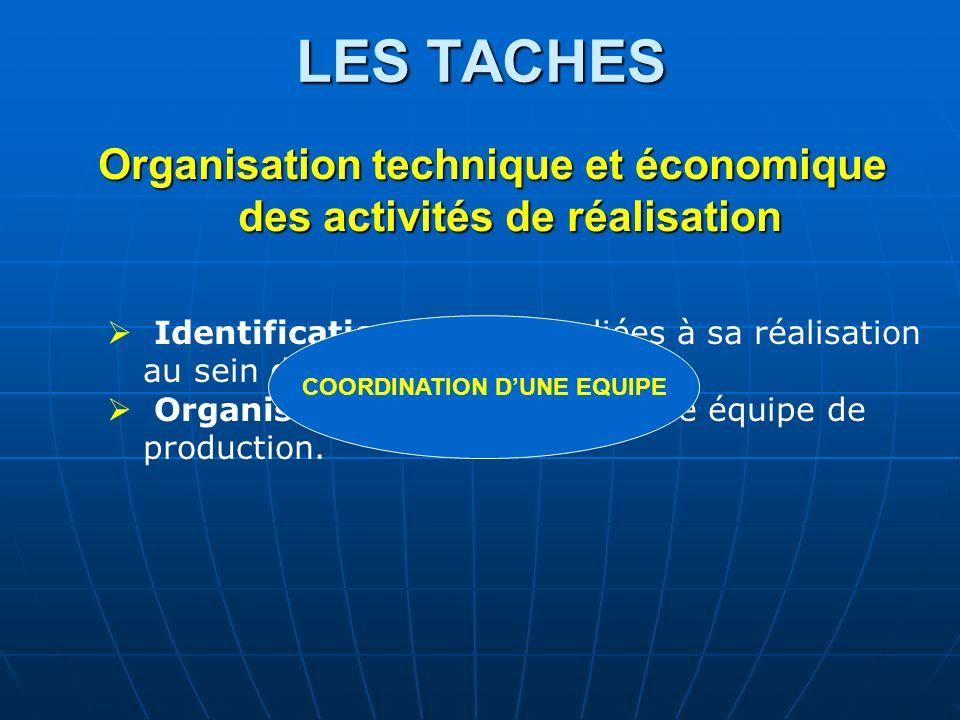 LES TACHES Organisation technique et économique des activités de réalisation Identification des tâches liées à sa réalisation au sein dun planning Org