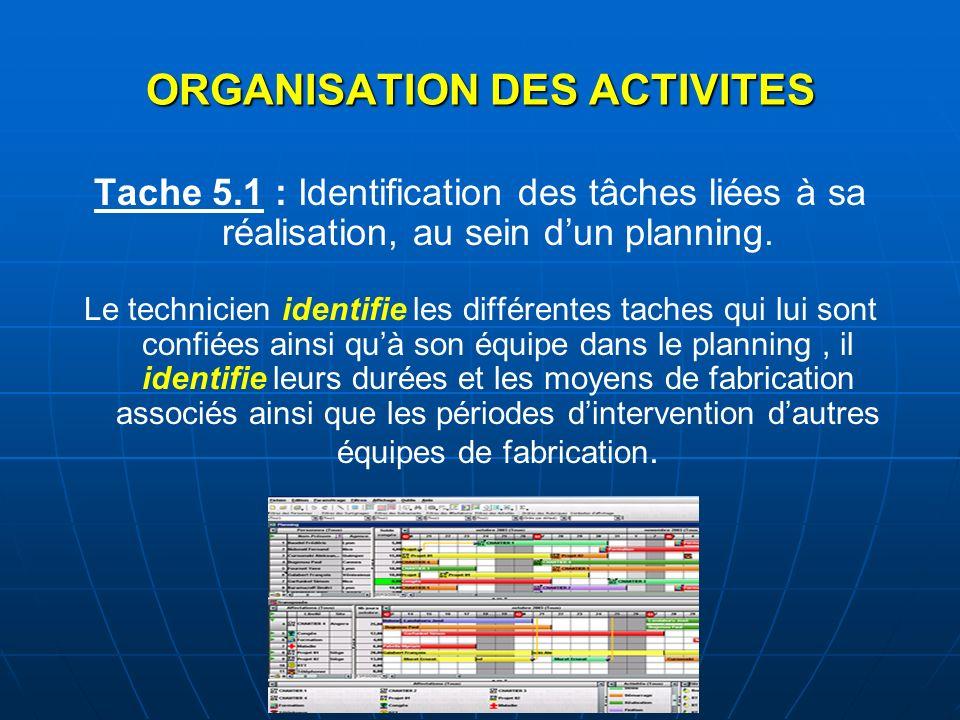 Tache 5.1 : Identification des tâches liées à sa réalisation, au sein dun planning. Le technicien identifie les différentes taches qui lui sont confié
