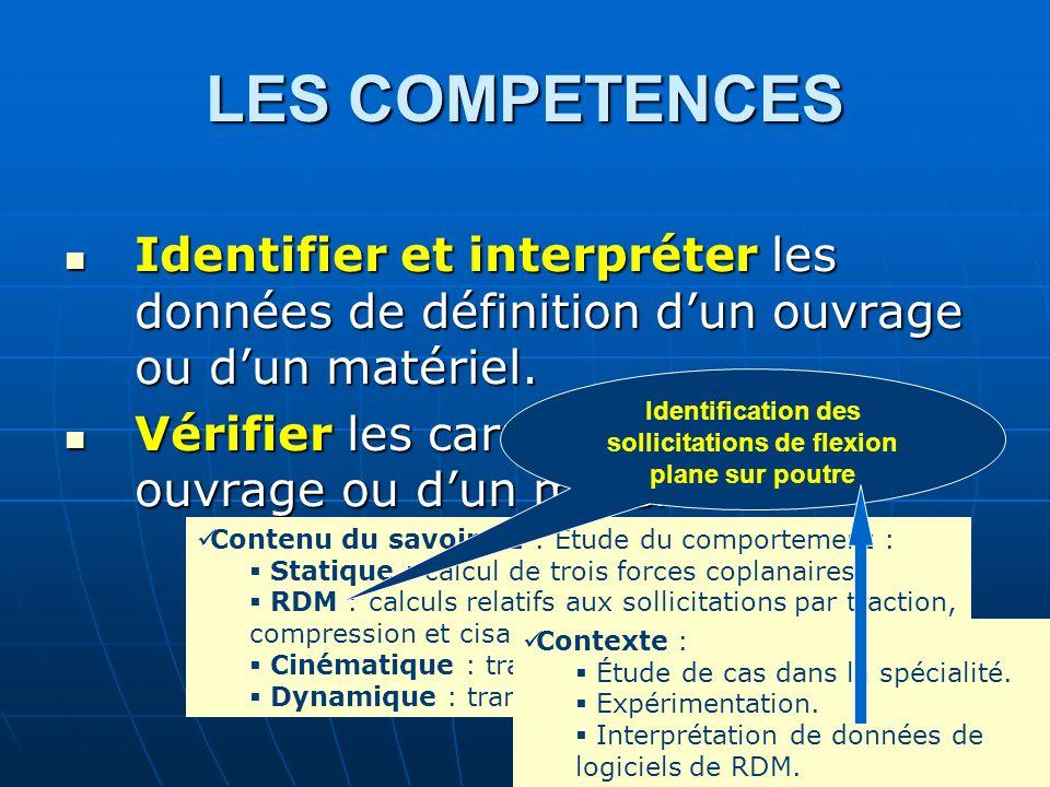 LES COMPETENCES Identifier et interpréter les données de définition dun ouvrage ou dun matériel. Identifier et interpréter les données de définition d
