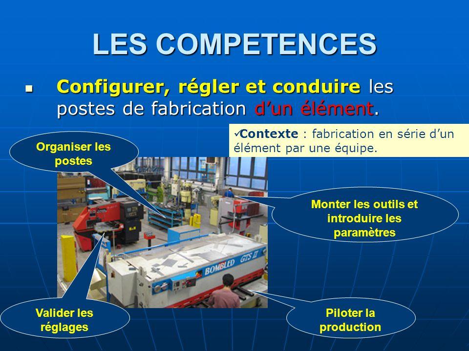 LES COMPETENCES Configurer, régler et conduire les postes de fabrication dun élément. Configurer, régler et conduire les postes de fabrication dun élé