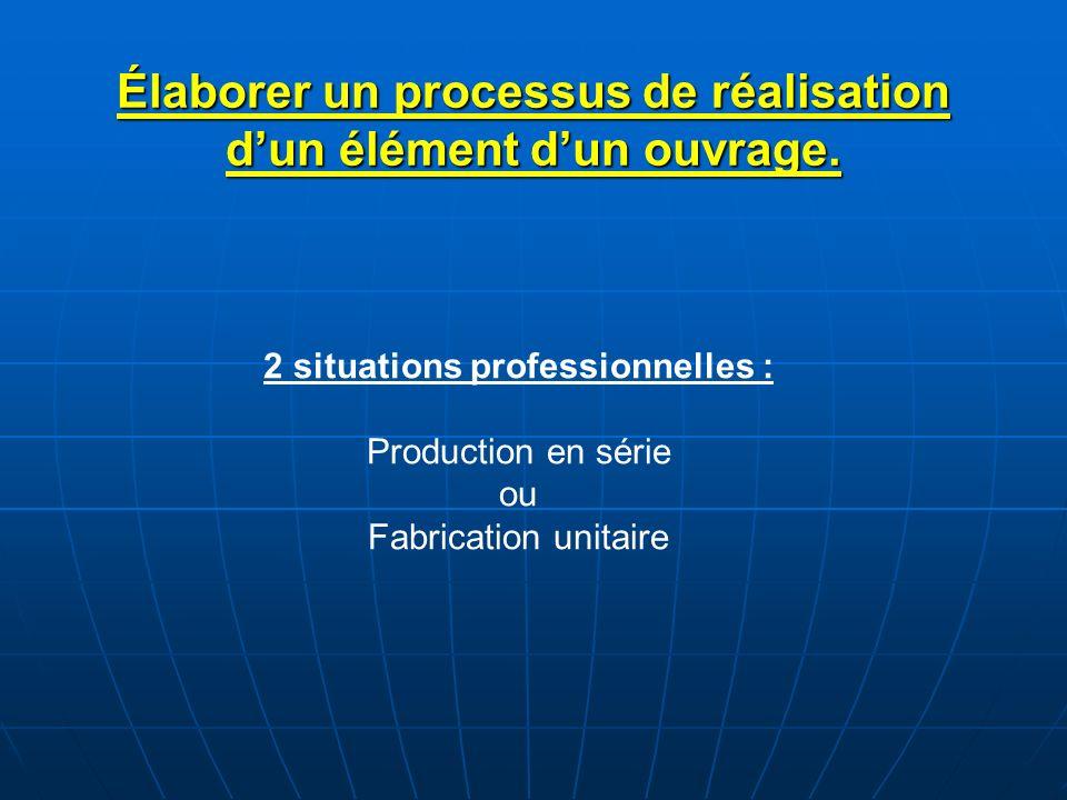 Élaborer un processus de réalisation dun élément dun ouvrage. 2 situations professionnelles : Production en série ou Fabrication unitaire