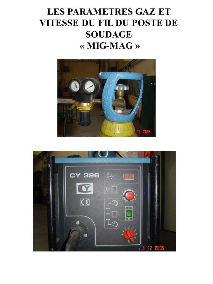 LES PARAMETRES GAZ ET VITESSE DU FIL DU POSTE DE SOUDAGE « MIG-MAG »