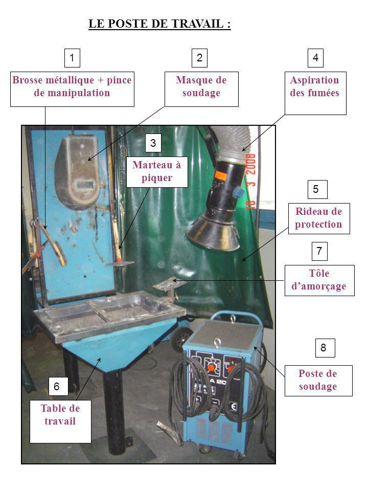 Aspiration des fumées Masque de soudage Poste de soudage Marteau à piquer Table de travail Tôle damorçage Rideau de protection Brosse métallique + pin
