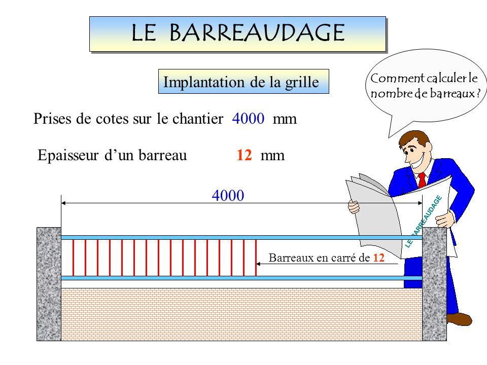 LE BARREAUDAGE LE BARREAUDAGE 4000 Barreaux en carré de 12 Implantation de la grille Prises de cotes sur le chantier4000 mm Epaisseur dun barreau12 mm Comment calculer le nombre de barreaux ?