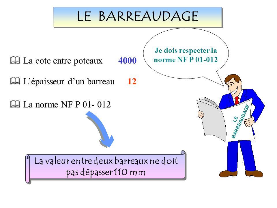LE BARREAUDAGE La cote entre poteaux Lépaisseur dun barreau 4000 12 La norme NF P 01- 012 La valeur entre deux barreaux ne doit pas dépasser 110 mm La valeur entre deux barreaux ne doit pas dépasser 110 mm Je dois saisir les données nécessaires.