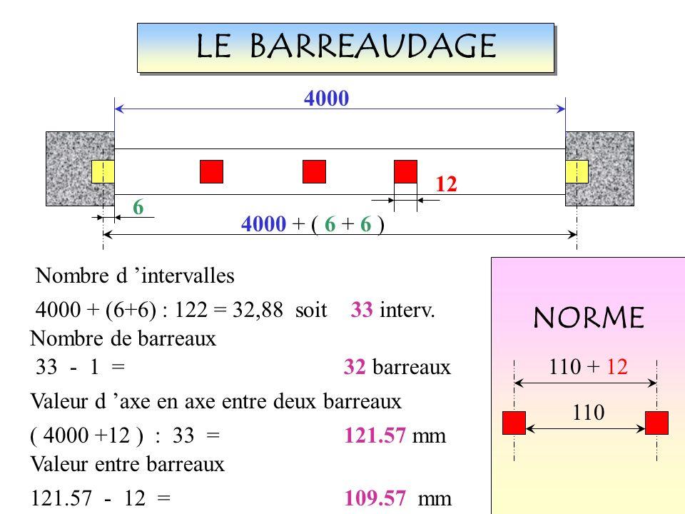 Les barreaux jaunes sont fictifs LE BARREAUDAGE 4000 12 6 4000 + ( 6 + 6 ) NORME 110 110 + 12 Nombre d intervalles 4000 + (6+6) : 122 = 32,88 soit 33 interv.