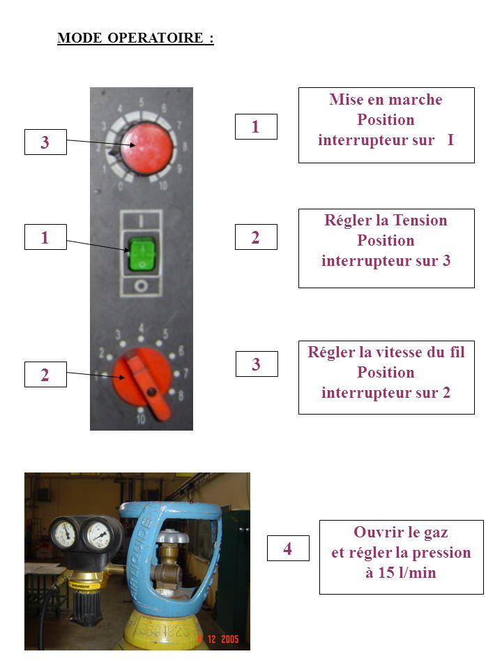 1 Mise en marche Position interrupteur sur I 2 Régler la Tension Position interrupteur sur 3 3 Régler la vitesse du fil Position interrupteur sur 2 4