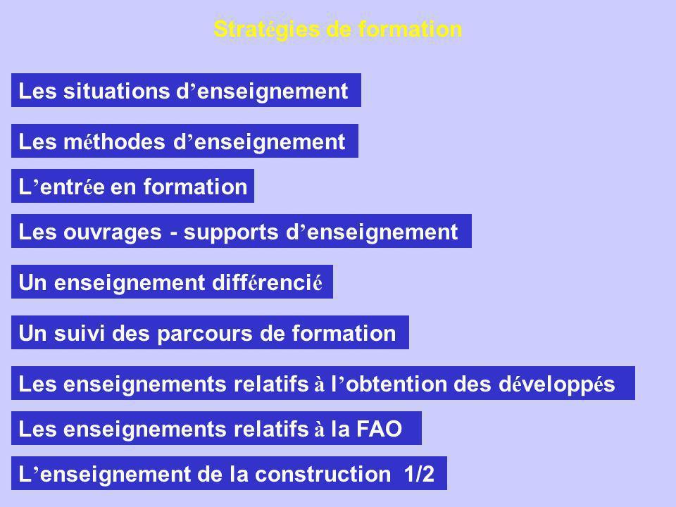 Les situations d enseignement Les m é thodes d enseignement L entr é e en formation Les ouvrages - supports d enseignement Un enseignement diff é renci é Un suivi des parcours de formation Les enseignements relatifs à l obtention des d é velopp é s Les enseignements relatifs à la FAO L enseignement de la construction 1/2 Strat é gies de formation