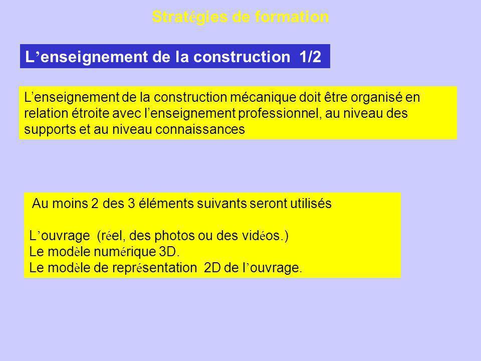 Strat é gies de formation L enseignement de la construction 1/2 Au moins 2 des 3 éléments suivants seront utilisés L ouvrage (r é el, des photos ou des vid é os.) Le mod è le num é rique 3D.