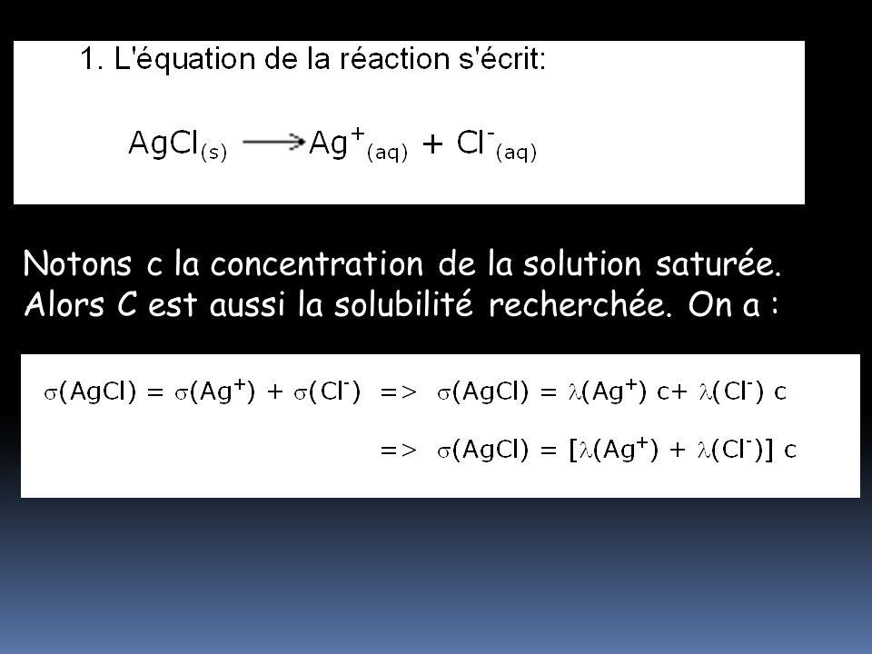 1. L'équation de la réaction s'écrit: AgCl (s) Ag + (aq) + Cl - (aq) 1. L'équation de la réaction s'écrit: AgCl (s) Ag + (aq) + Cl - (aq) 1. L'équatio