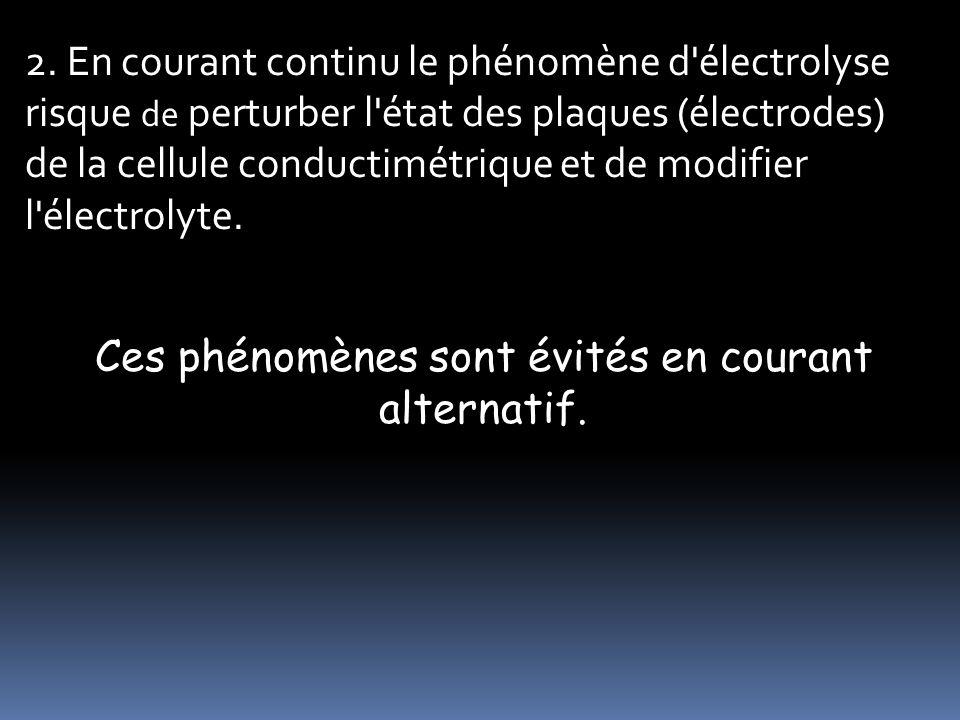 2. En courant continu le phénomène d'électrolyse risque de perturber l'état des plaques (électrodes) de la cellule conductimétrique et de modifier l'é