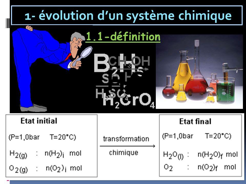 1- évolution dun système chimique 1.1-définition