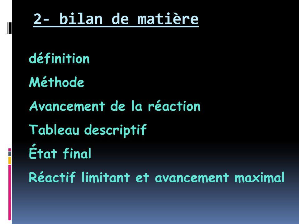 2- bilan de matière définition Méthode Avancement de la réaction Tableau descriptif État final Réactif limitant et avancement maximal