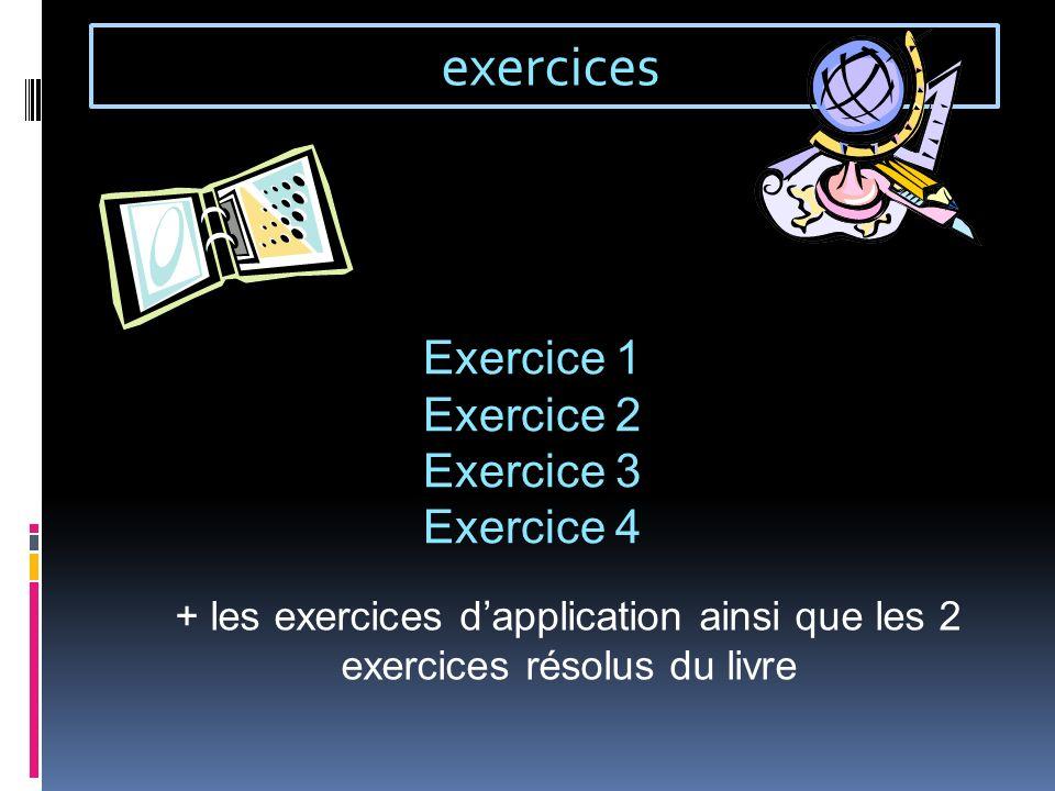 exercices Exercice 1 Exercice 2 Exercice 3 Exercice 4 + les exercices dapplication ainsi que les 2 exercices résolus du livre