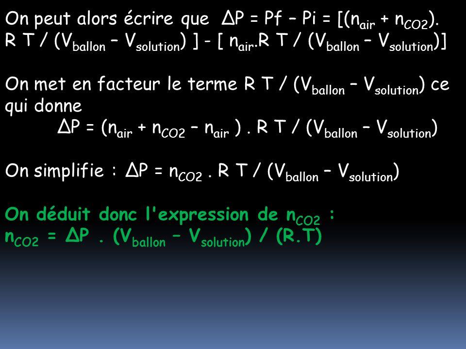 On peut alors écrire que ΔP = Pf – Pi = [(n air + n CO2 ). R T / (V ballon – V solution ) ] - [ n air.R T / (V ballon – V solution )] On met en facteu
