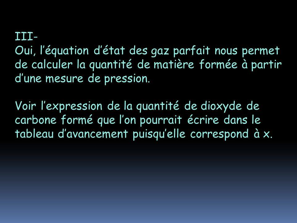 III- Oui, léquation détat des gaz parfait nous permet de calculer la quantité de matière formée à partir dune mesure de pression. Voir lexpression de