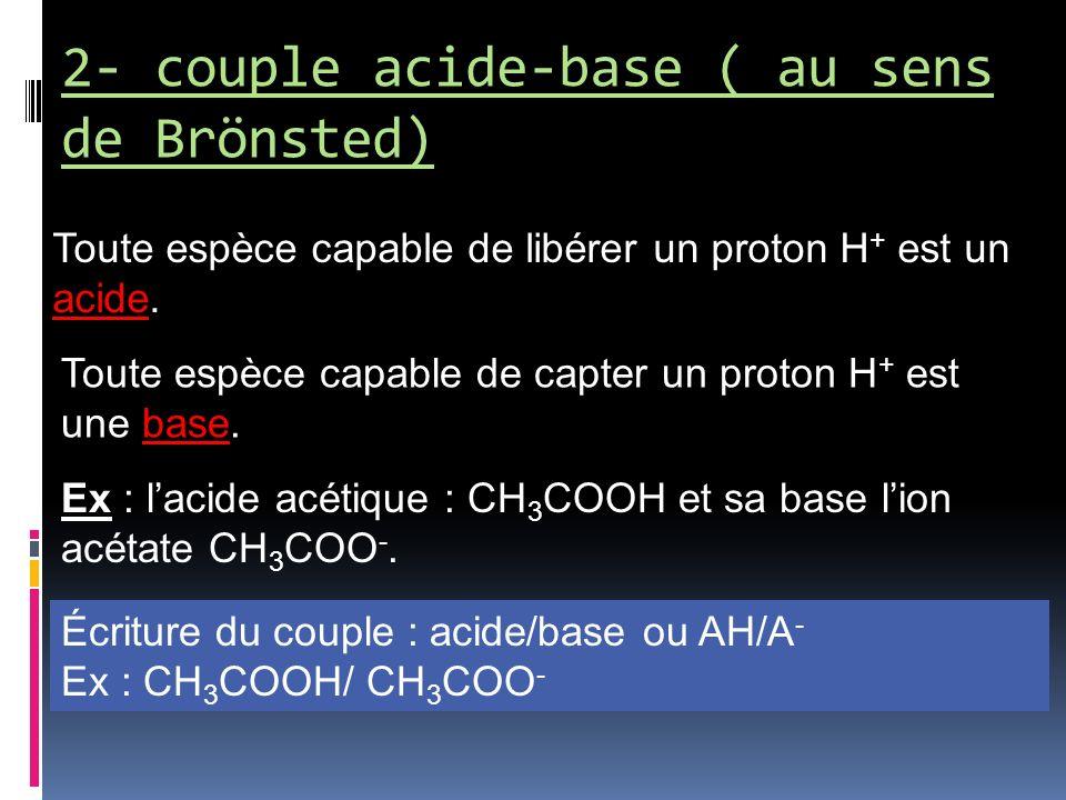 2- couple acide-base ( au sens de Brönsted) Toute espèce capable de libérer un proton H + est un acide. Toute espèce capable de capter un proton H + e