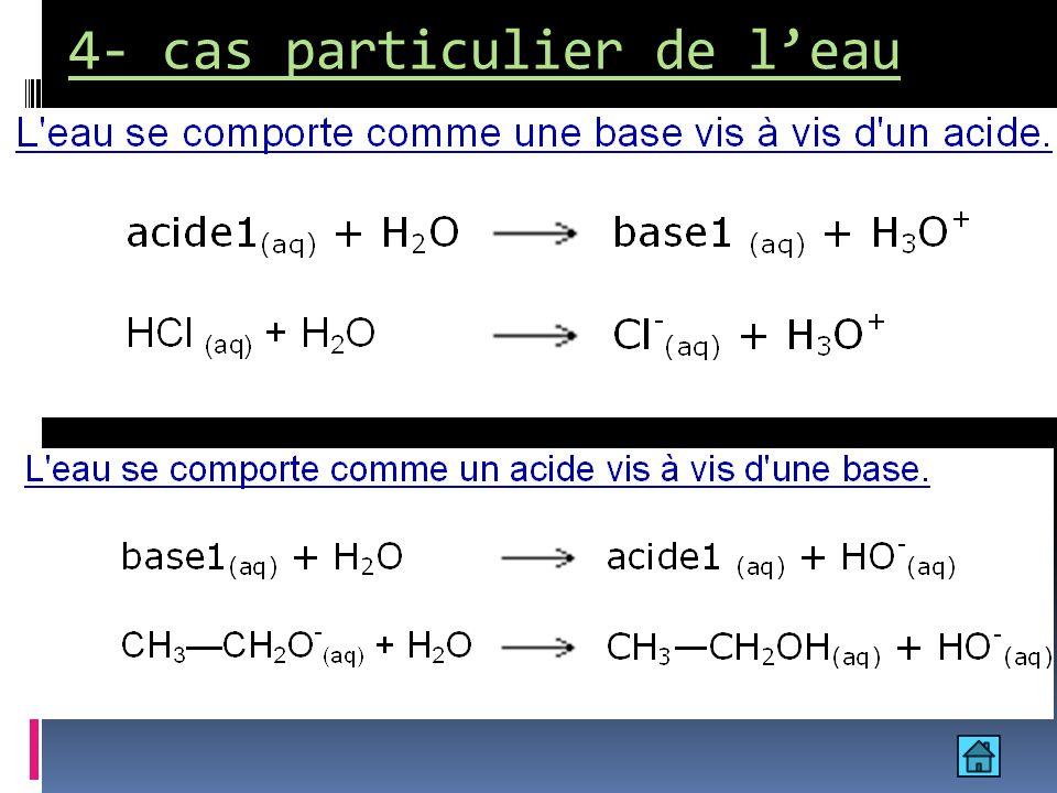 Leau constitue à la fois la forme basique du couple H 3 O + /H 2 O et la forme acide du couple H 2 O/HO -.