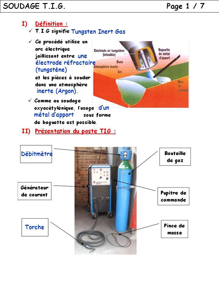 SOUDAGE T.I.G. Page 1 / 7 Tungsten Inert Gas une électrode réfractaire (tungstène) inerte (Argon). dun métal dapport Débitmètre Torche