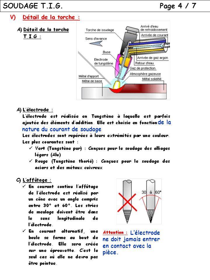SOUDAGE T.I.G. Page 4 / 7 de la nature du courant de soudage Lélectrode ne doit jamais entrer en contact avec la pièce.