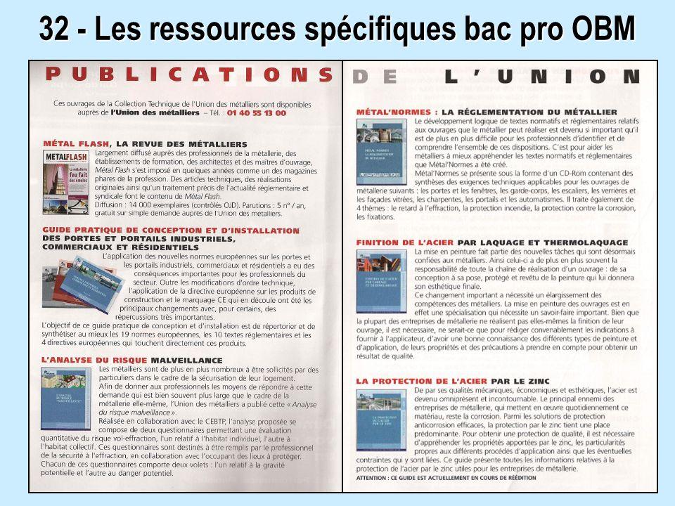 32 - Les ressources spécifiques bac pro OBM